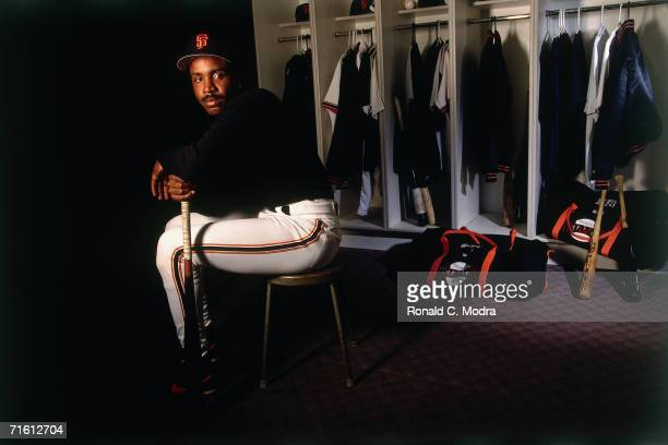 Barry Bonds of the San Francisco Giants in locker room prior to regular season game on May 7 l993 at Candlestick Park in San Francisco California
