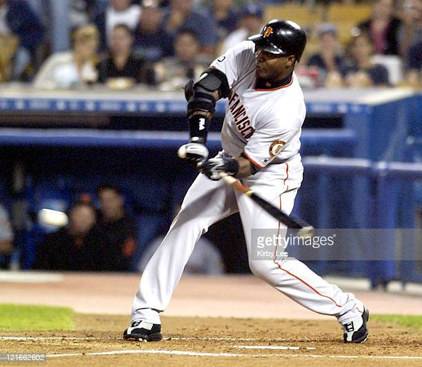 Barry Bonds of the San Francisco Giants on Saturday Sept 20 2003 at Dodger Stadium