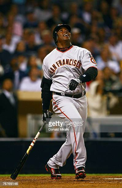 Barry Bonds of the San Francisco Giants reacts to a pop fly against the San Diego Padres during the 6th inning of their MLB Game on September 14 2007...