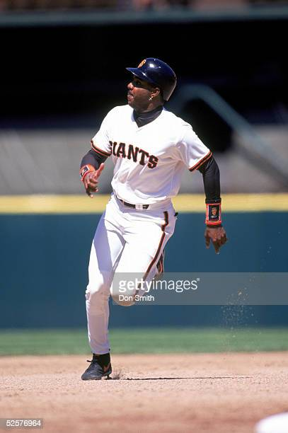 Barry Bonds of the San Francisco Giants runs during a season game at Candlestick Park in San Francisco California