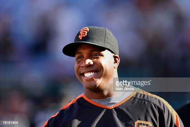 Barry Bonds of the San Francisco Giants smiles during batting practice prior to taking on the Florida Marlins at Dolphin Stadium on August 17 2007 in...