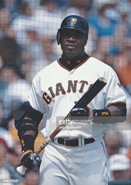 Barry Bonds of the San Francisco Giants stands on deck during the Major League Baseball National League West game against the Colorado Rockies on 2...