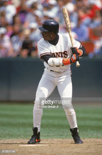 Barry Bonds of the San Francisco Giants stands ready at the plate against the Houston Astros on May 17 1993 at Candlestick Park in San Francisco...