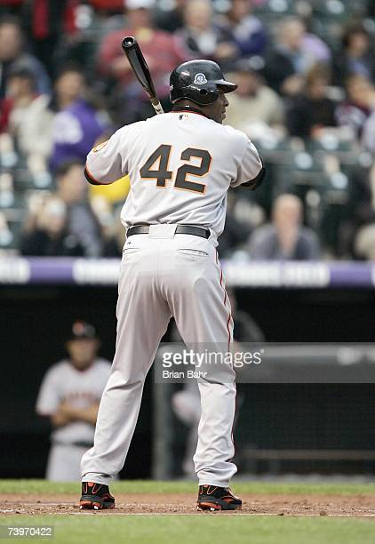 Barry Bonds of the San Francisco Giants stands ready for the pitch as the wear the commemmorative 42 in honor of Jackie Robinson during the game...
