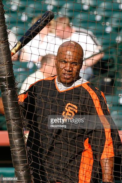 Barry Bonds outfielder for the San Francisco Giants waits to take his turn at the batting cage prior the the Giants' game against the Houston Astros...
