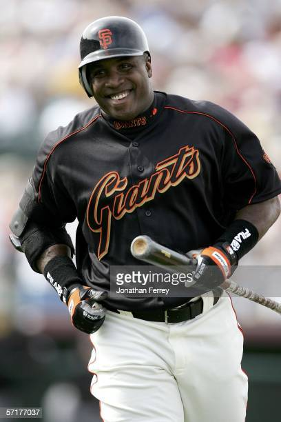 Barry Bonds the San Francisco Giants laughs after popping up the ball for an out during a Spring Training Cactus League game against the Colorado...