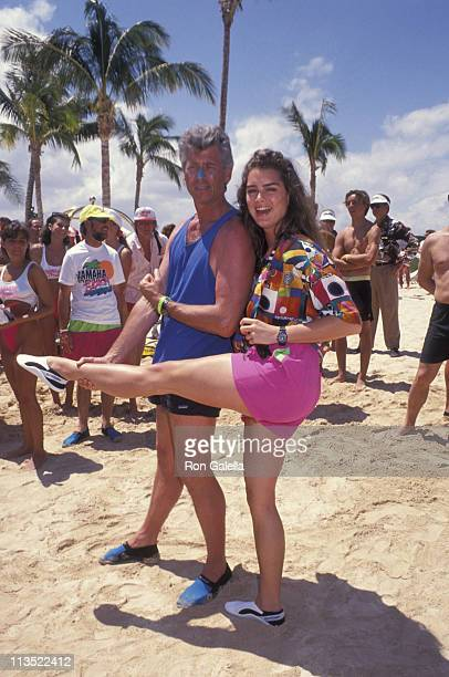 Barry Bostwick and Brooke Shields during Celebrity Sports Invitational at Ritz Carlton Mauna Lani Hawaii in Mauna Lani Hawaii United States