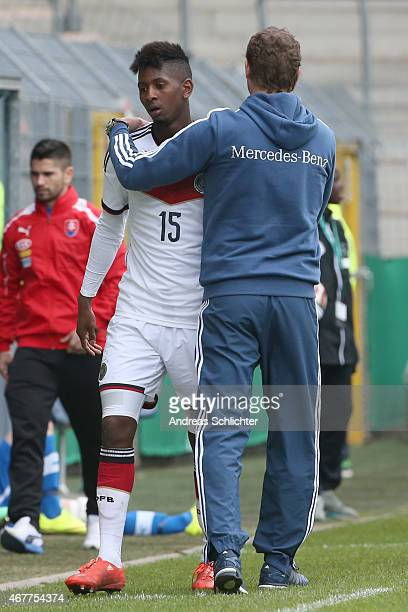 Barry Boubacar and Trainer Marcus Sorg of Germany during the UEFA Under19 Elite Round match between U19 Germany and U19 Slovakia at Carl-Benz-Stadium...