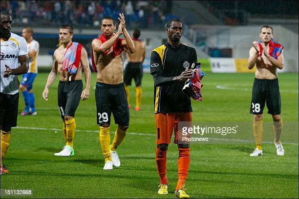 Barry Boubacar Copa of Sporting Lokeren in action during the Europa League fourth qualifying round return match between FC Viktoria Plzen and...