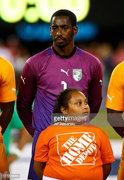 Barry Boubacar of Ivory Coast stands for anthem before their match against Mexico at MetLife Stadium on August 14 2013 in East Rutherford New Jersey