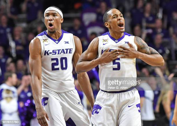 Barry Brown of the Kansas State Wildcats and Xavier Sneed of the Kansas State Wildcats react after defeating the Texas Longhorns on February 21 2018...