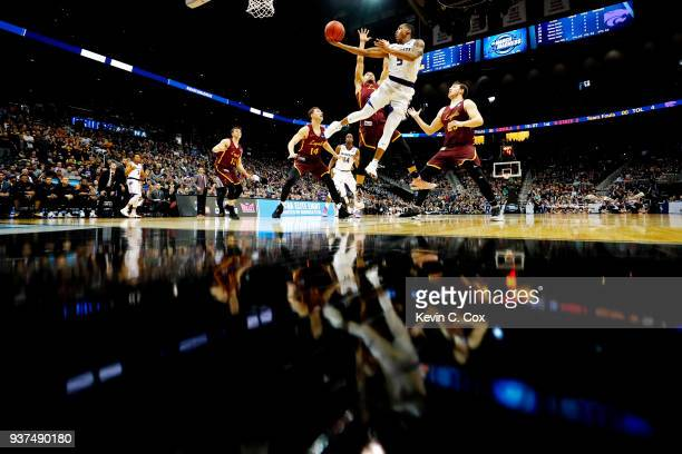 Barry Brown of the Kansas State Wildcats attempts a shot against the Loyola Ramblers in the first half during the 2018 NCAA Men's Basketball...