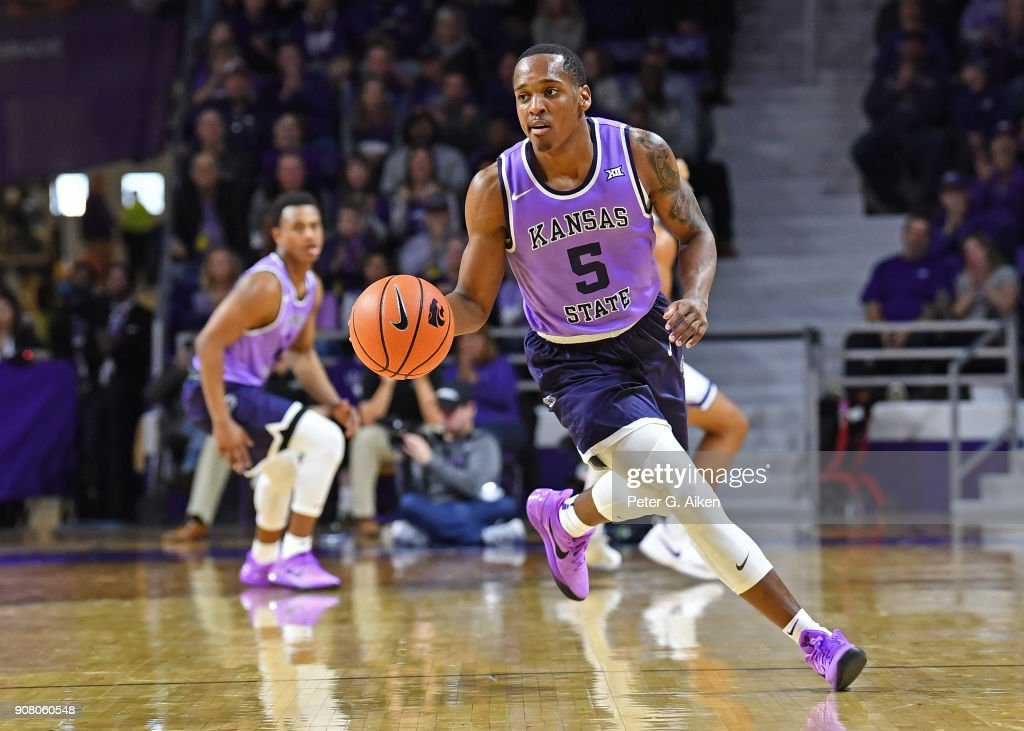 Barry Brown #5 of the Kansas State Wildcats brings the ball up court against the TCU Horned Frogs during the second half on January 20, 2018 at Bramlage Coliseum in Manhattan, Kansas.