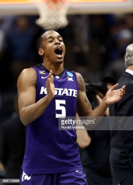 Barry Brown of the Kansas State Wildcats celebrates after defeating the Kentucky Wildcats during the 2018 NCAA Men's Basketball Tournament South...