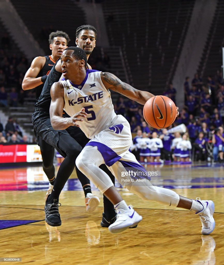 Barry Brown #5 of the Kansas State Wildcats drives to the basket against the Oklahoma State Cowboys during the second half on January 10, 2018 at Bramlage Coliseum in Manhattan, Kansas.