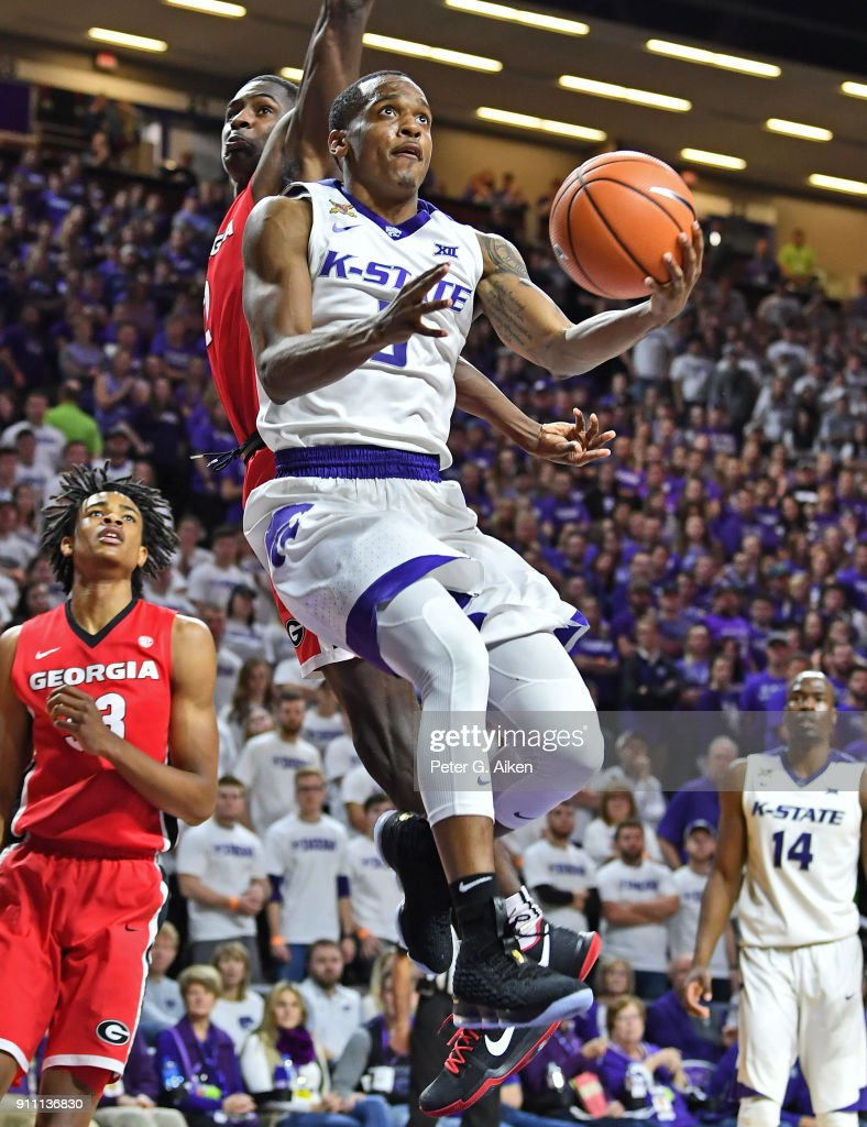 Barry Brown #5 of the Kansas State Wildcats drives to the basket during the second half against the Georgia Bulldogs on January 27, 2018 at Bramlage Coliseum in Manhattan, Kansas.