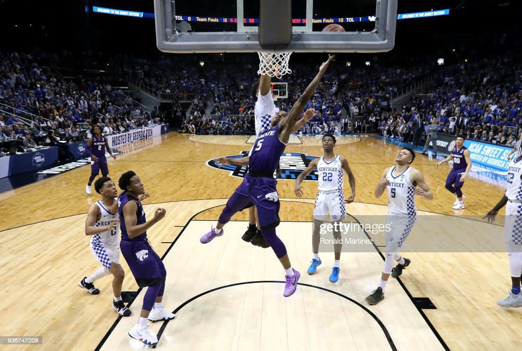 Barry Brown #5 of the Kansas State Wildcats drives to the basket late in the second half for the go-ahead basket against PJ Washington #25 of the Kentucky Wildcats during the 2018 NCAA Men's Basketball Tournament South Regional at Philips Arena on March 22, 2018 in Atlanta, Georgia.