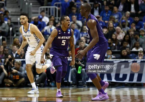 Barry Brown of the Kansas State Wildcats reacts after a play in the second half against the Kentucky Wildcats during the 2018 NCAA Men's Basketball...