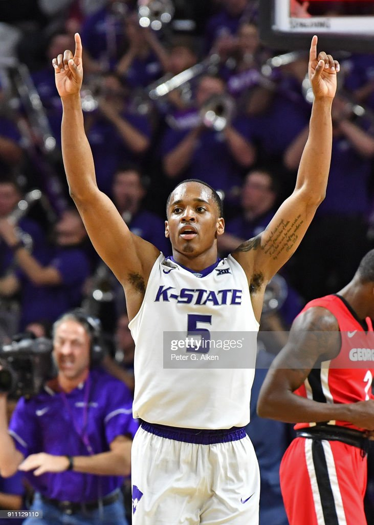 Barry Brown #5 of the Kansas State Wildcats reacts after defeating the Georgia Bulldogs on January 27, 2018 at Bramlage Coliseum in Manhattan, Kansas.