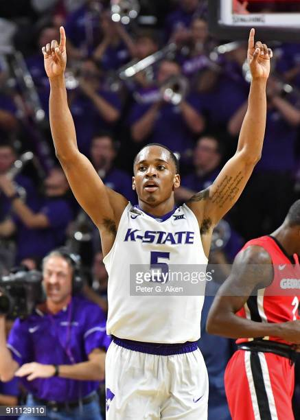 Barry Brown of the Kansas State Wildcats reacts after defeating the Georgia Bulldogs on January 27, 2018 at Bramlage Coliseum in Manhattan, Kansas.