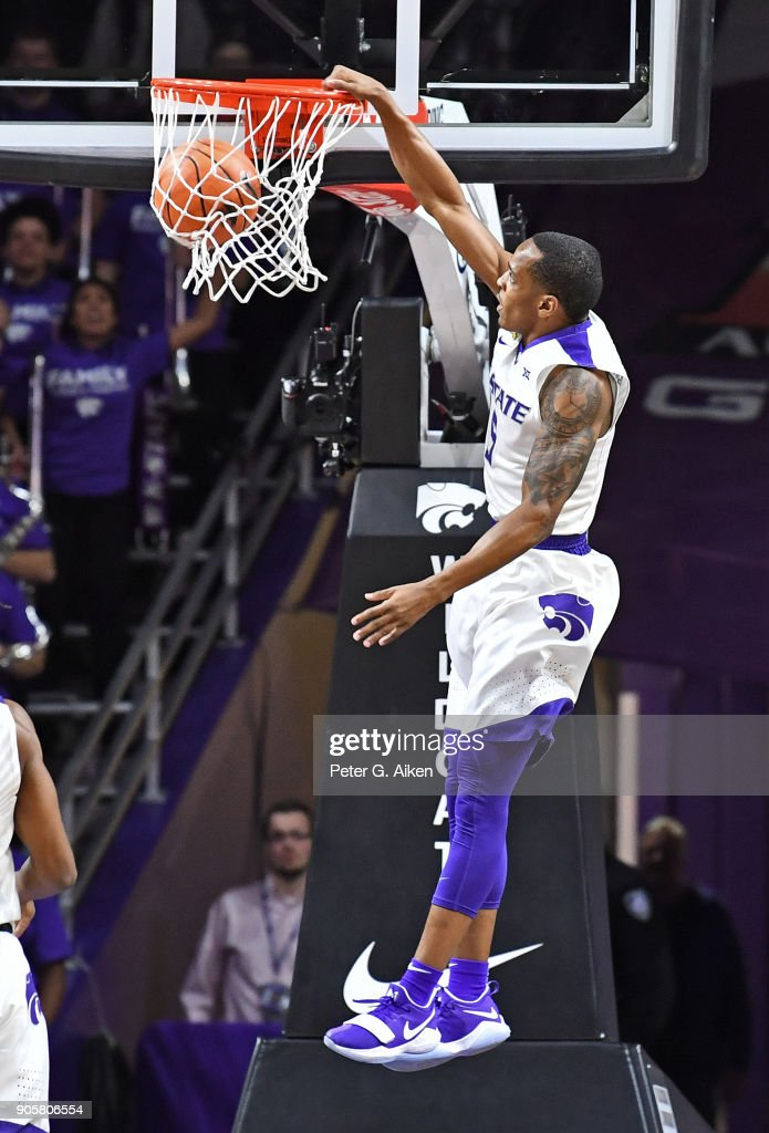 Barry Brown #5 of the Kansas State Wildcats scores a breakaway dunk against the Oklahoma Sooners during the first half on January 16, 2018 at Bramlage Coliseum in Manhattan, Kansas.