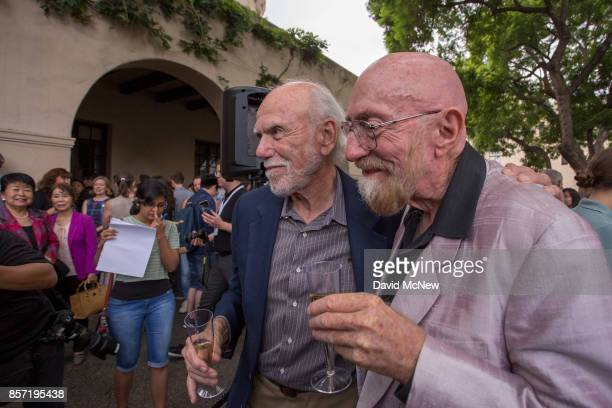 Barry C Barish and Kip S Thorne celebrate with students and faculty at California Institute of Technology after receiving the 2017 Nobel Prize in...