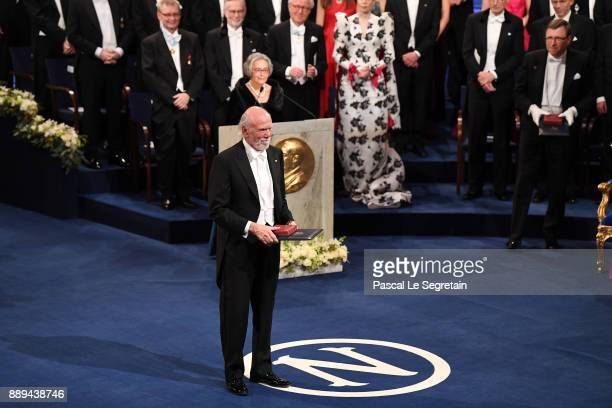 Barry CBarish laureate of the Nobel Prize in physics aknowledges applause after he received his Nobel Prize from King Carl XVI Gustaf of Sweden...