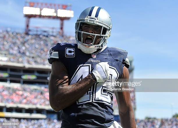 Barry Church of the Dallas Cowboys reacts after a defensive play in the end zone against the Tennessee Titans at LP Field on September 14 2014 in...
