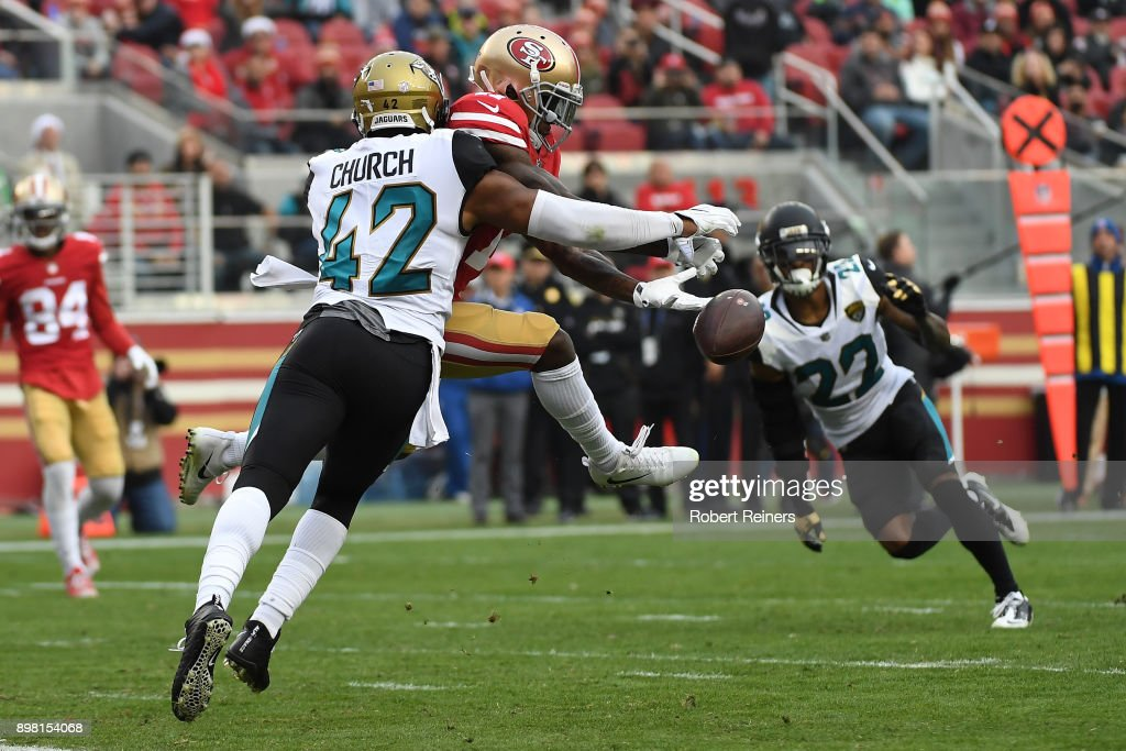 Barry Church #42 of the Jacksonville Jaguars breaks up a pass intended for Marquise Goodwin #11 of the San Francisco 49ers during their NFL game at Levi's Stadium on December 24, 2017 in Santa Clara, California.