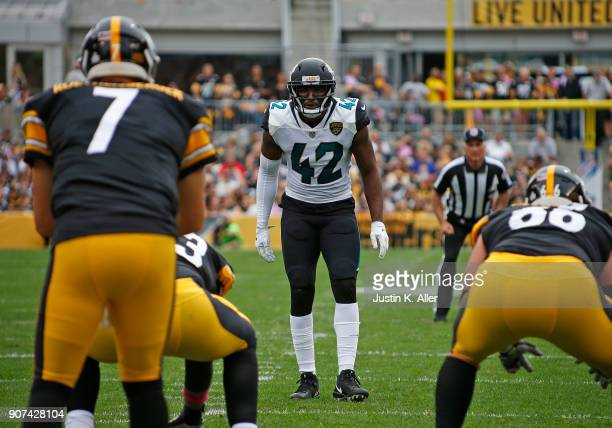 Barry Church of the Jacksonville Jaguars in action against the Pittsburgh Steelers on October 8 2017 at Heinz Field in Pittsburgh Pennsylvania
