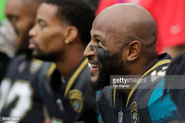 Barry Church of the Jacksonville Jaguars rests on the sideline during the game against the Houston Texans at NRG Stadium on September 10 2017 in...