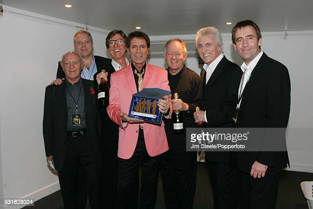 Barry Clayman and Phil Bowdrey of Live Nation Hank Marvin Cliff Richard Brian Bennett and Bruce Welch of The Shadows and John Drury General Manager...