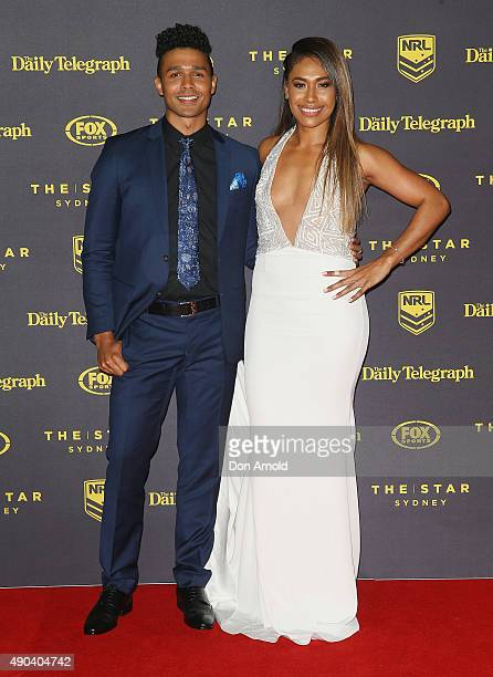 Barry Conrad and Paulini arrives at the 2015 Dally M Awards at Star City on September 28 2015 in Sydney Australia