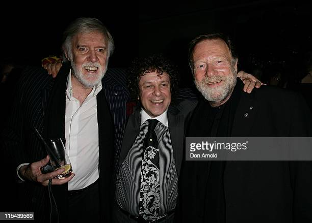 Barry Crocker Leo Sayer and Jack Thompson pose for a photo during the 60th birthday celebrations for Leo Sayer at the Ivy Hotel on May 21 2008 in...