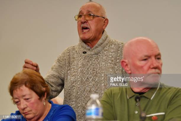 Barry Devonside father of a victim speaks as family members survivors and campaigners for the victims of the Hillsborough Disaster hold a press...