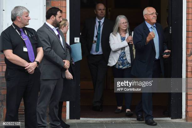 Barry Devonside, whose son Christopher died in the 1989 Hillsborough stadium disaster, exits Parr Hall with family members after being informed of...
