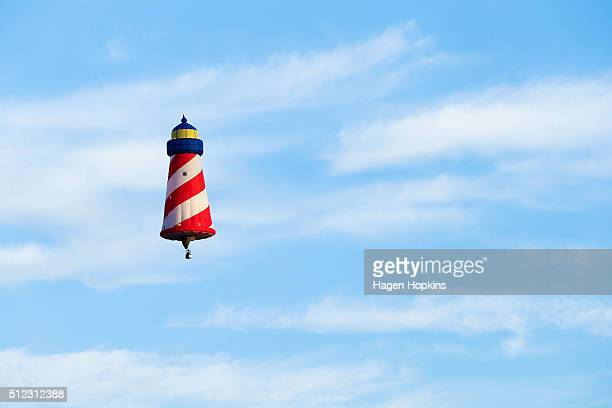 Barry DiLibero of USA flies his hot air balloon 'Flighthouse' over Wairarapa to launch the 2016 Wairarapa Balloon Festival on February 26 2016 in...