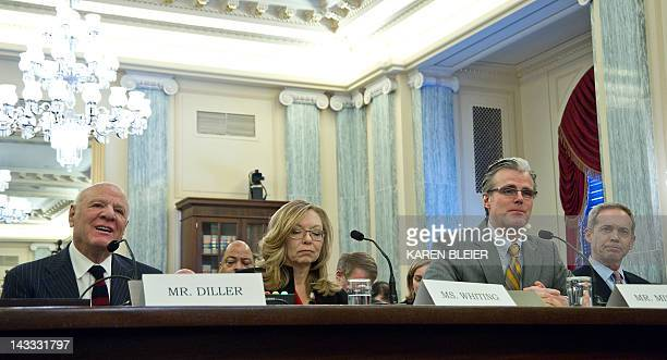 Barry Diller Chairman and Senior Executive IAC testifies before the US Senate Commerce Committee April 24 2012 on Capitol Hill in Washington DC on...