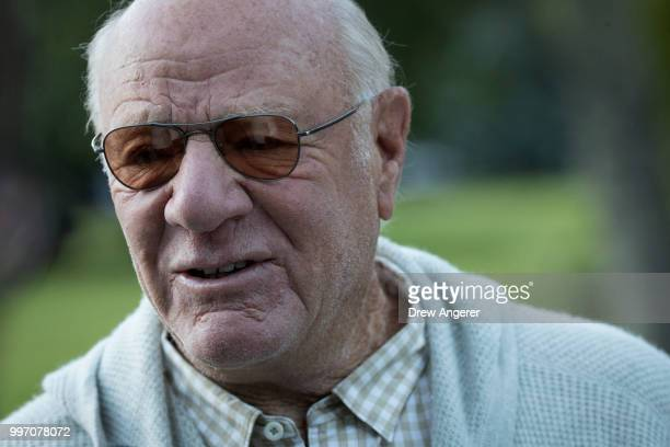 Barry Diller chairman of IAC/ActiveCorp and Expedia Inc speaks to reporters as he attends the annual Allen Company Sun Valley Conference July 12 2018...