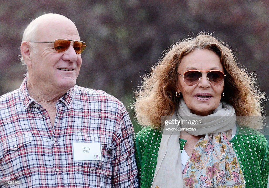 Barry Diller (L), chairman of IAC/InterActiveCorp., and his wife, designer Diane Von Furstenberg, arrive for the morning meeting during the Allen & Company Sun Valley Conference on July 13, 2012 in Sun Valley, Idaho. The conference has been hosted annually by the investment firm Allen & Company each July since 1983. The conference is typically attended by many of the world's most powerful media executives.