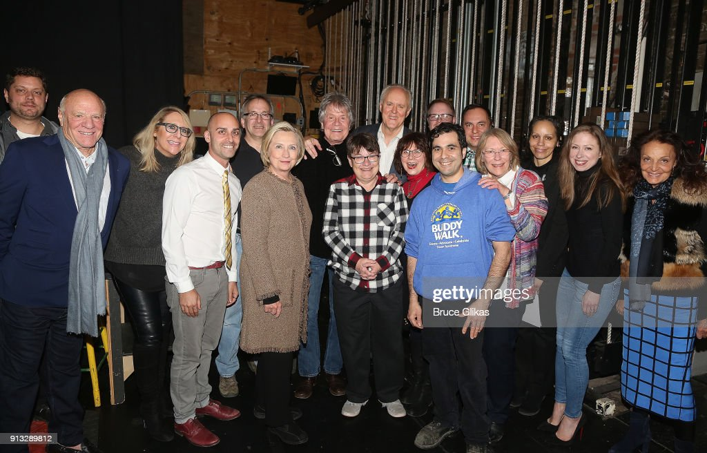 Barry Diller, Hillary Clinton, Chelsea Clinton Mezvinsky and Diane Von Furstenberg pose with John Lithgow and the company backstage at the Roundabout Theatre Company's hit production of 'John Lithgow: Stories By Heart' on Broadway at The American Airlines Theatre on February 1, 2018 in New York City.