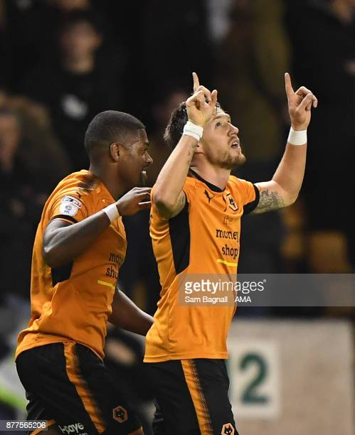 Barry Douglas of Wolverhampton Wanderers celebrates after scoring a goal to make it 1-0 during the Sky Bet Championship match between Wolverhampton...
