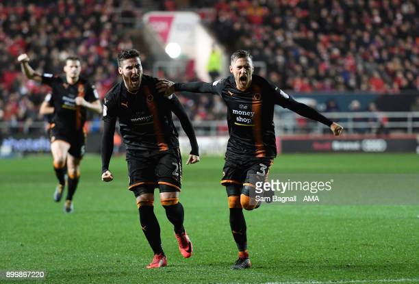 Barry Douglas of Wolverhampton Wanderers celebrates after scoring a goal to make it 11 during the Sky Bet Championship match between Bristol City and...