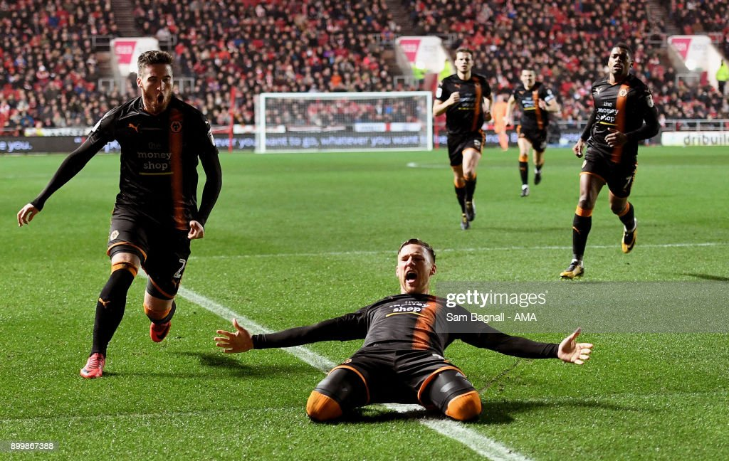 Barry Douglas of Wolverhampton Wanderers celebrates after scoring a goal to make it 1-1 during the Sky Bet Championship match between Bristol City and Wolverhampton at Ashton Gate on December 30, 2017 in Bristol, England.