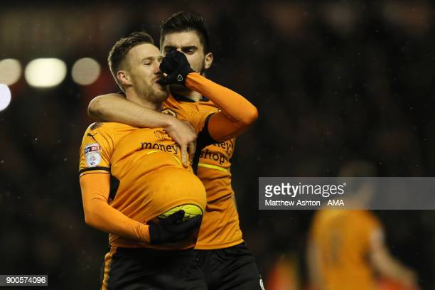Barry Douglas of Wolverhampton Wanderers celebrates after scoring a goal to make it 20 during the Sky Bet Championship match between Wolverhampton...