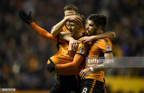 Barry Douglas of Wolverhampton Wanderers celebrates scoring his team's second goal during the Sky Bet Championship match between Wolverhampton and...