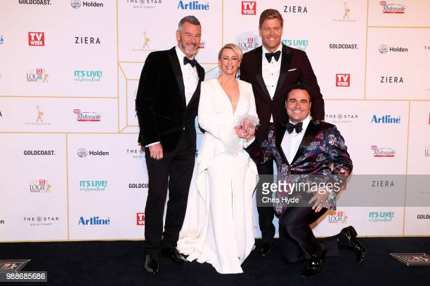 Barry Du Bois Amanda Keller Chris Brown and Miguel Maestre arrive at the 60th Annual Logie Awards at The Star Gold Coast on July 1 2018 in Gold Coast...