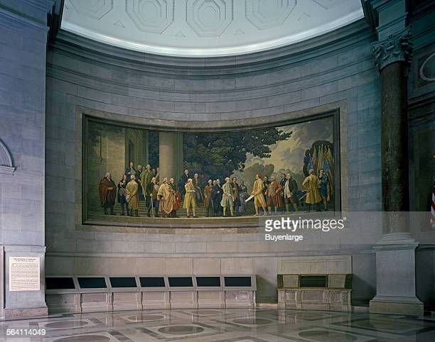 Barry Faulkner 1936 Declaration of Independence mural in the rotunda of the National Archives Washington DC