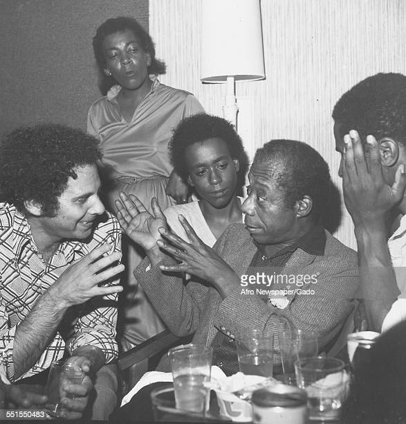 Barry Feinstein actresses Cassandra Jamison and Michelle Brown and James Baldwin playwright of Blues for Mr Charlie December 7 1980