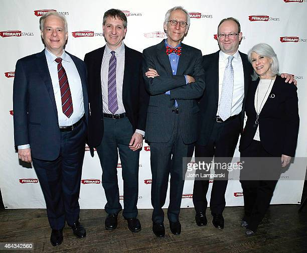 Barry Feirstein Elliot Fox David Ives Andrew Lynese and Jamie DeRoy attend 'Lives Of The Saints' opening night after party at Casa Nonna on February...
